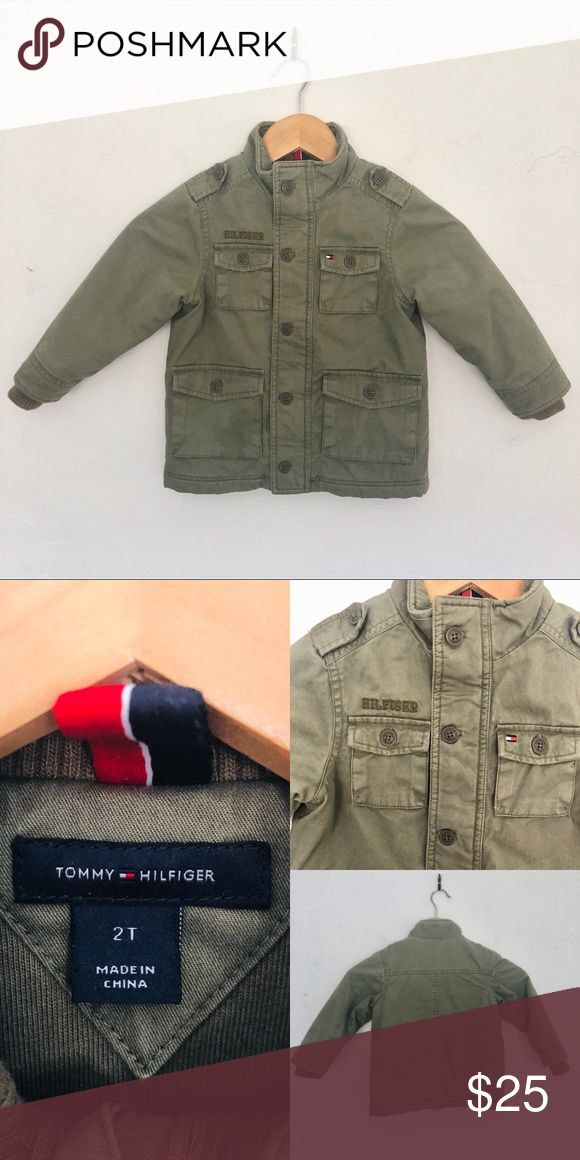 👶🏼 Tommy Hilfiger 2T Insulated Army Jacket Worn maybe once. Like new condition. Zipper closure with optional buttons over. I have this same jacket in a size 6 in my closet if you want matching kiddos 😉 Tommy Hilfiger Jackets & Coats