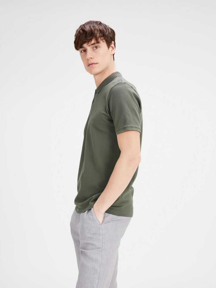 Slim fit polo shirt with minimal styling and slim collar, in military/olive green | JACK & JONES