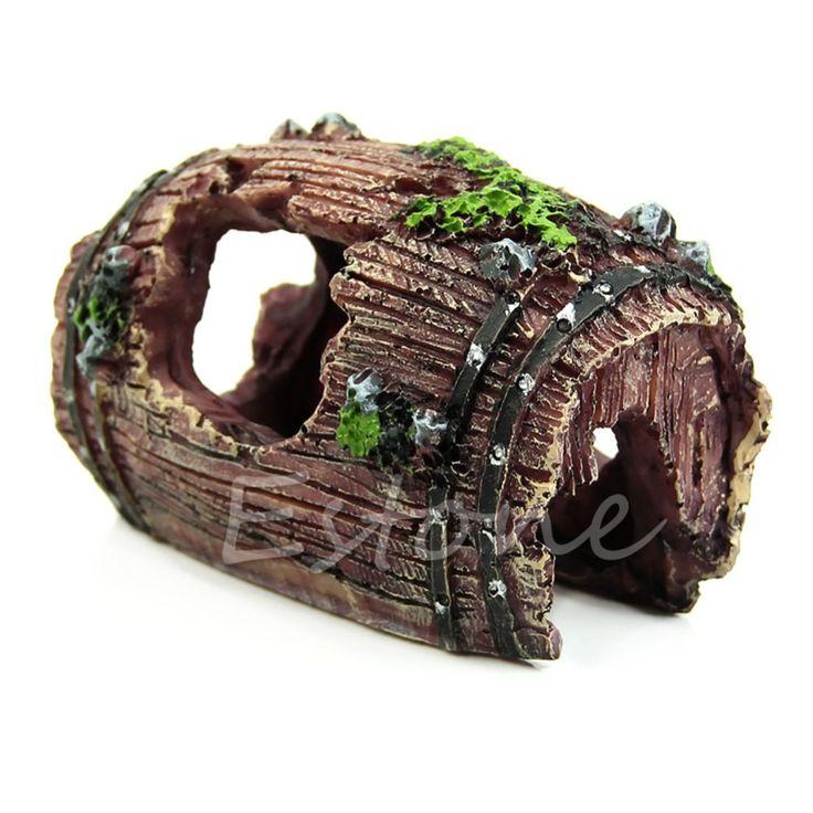 Envío gratis Acuario Artificial Barril Resina Ornamento Cueva Paisajismo Decoración