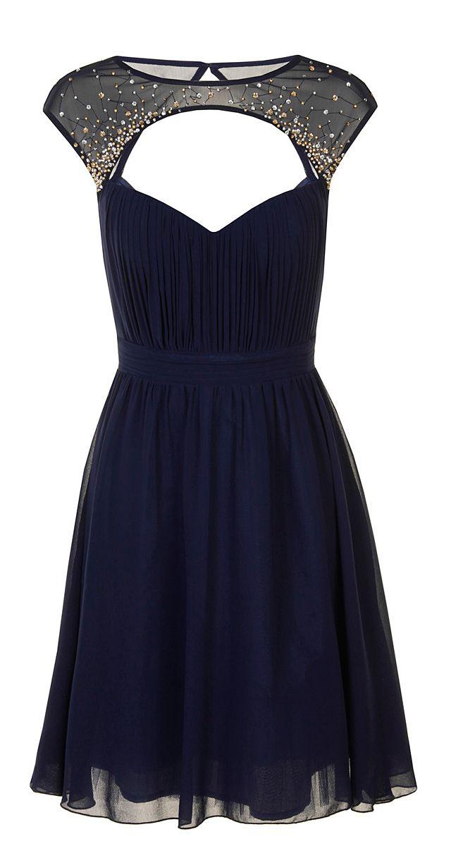 Navy Embellished Cap-Sleeve Dress
