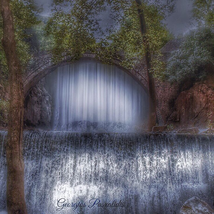 Bridge and waterfall in Pala iokarya ...Trikala...THESSALY...GREECE.....