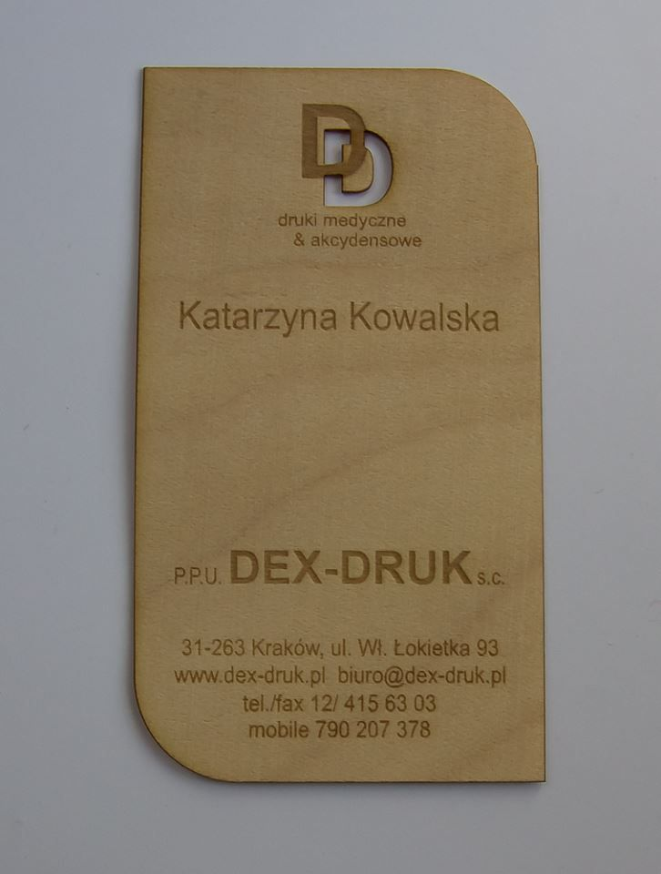 Dex Druk Wood Business Cards: MAPLE is clean and modern with a lighter color grain. Ask for more. info@dex-druk.pl