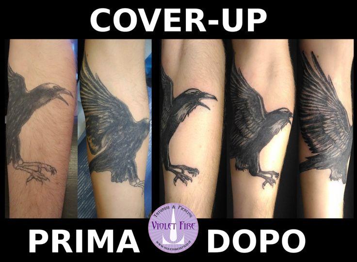 cover-up corvo, tatuaggio corvo, copertura tatuaggio, tatuaggio braccio, tatuaggio avambraccio - Violet Fire Tattoo - tatuaggi maranello, tatuaggi modena, tatuaggi sassuolo, tatuaggi fiorano - Adam Raia - tatuaggio nichel free, tatuaggio senza nichel, tatuaggio vegano, nickel free tattoo, vegan tattoo, italian tattoo, tatto italy, tattoo maranello, tattoo modena