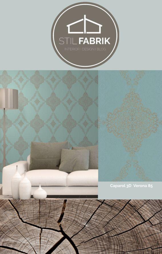 farb stilkonzept rasch textil vision 022859 grn grau blau silber ornament - Wohnzimmer Silber
