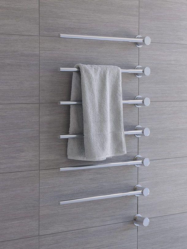 El estudio Aarhus Arkitekterne diseñó para la firma Vola el radiador-toallero T39, que dispone de una versión eléctrica y otra para circuito de agua