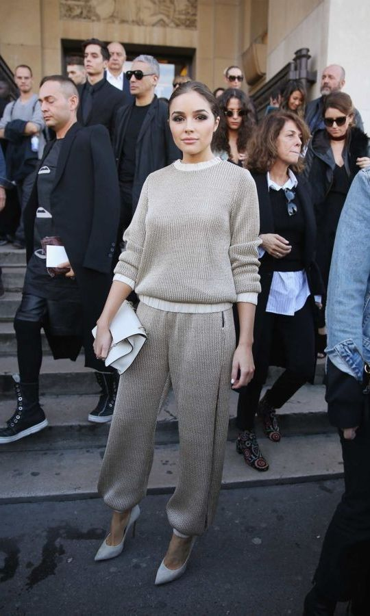 Olivia Culpo opted for a luxurious loungewear set by LA-based label Haney for the Haider Ackermann show during Paris Fashion Week