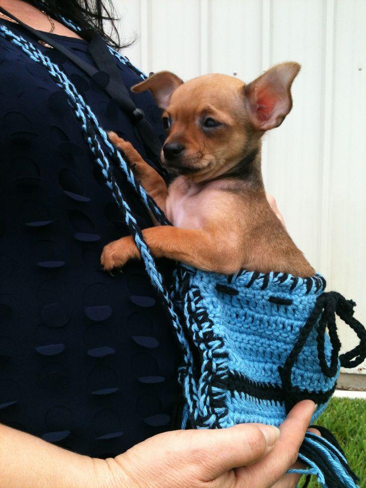 Handmade Crochet Dog Carrier Tote Pouch New Crochet Dog