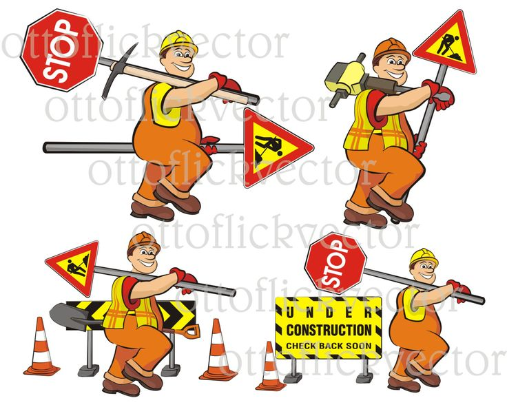 ROAD WORKS Vector CLIPART, road worker, road signs, men at work eps, ai,cdr, png, jpg, smiling cartoon worker, funny guy by ottoflickvector on Etsy