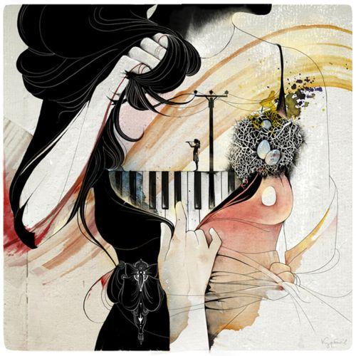 Alexey Kurbatov - Illustrations - behance.net #girl #photoshop #piano