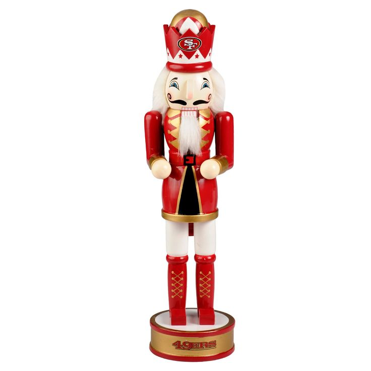 NFL Forever Collectibles Decorative Holiday Wooden Nutcracker - San Francisco 49ers