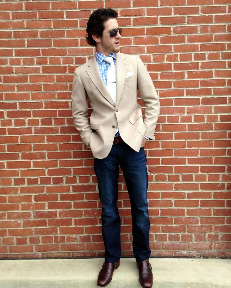 jacket tie jeans brown shoes