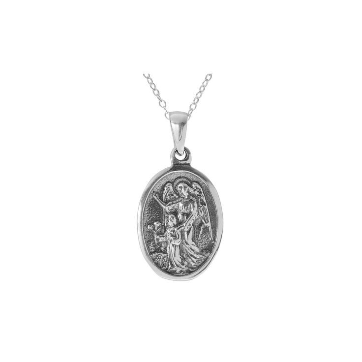 Women's Journee Collection St. Michael Pendant Necklace in Sterling Silver - Gray (18)