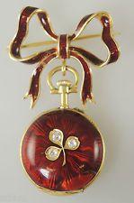 Krásná 18K zlata, červeně smaltovaný a DIAMOND Set dámské kapesní hodinky c1890