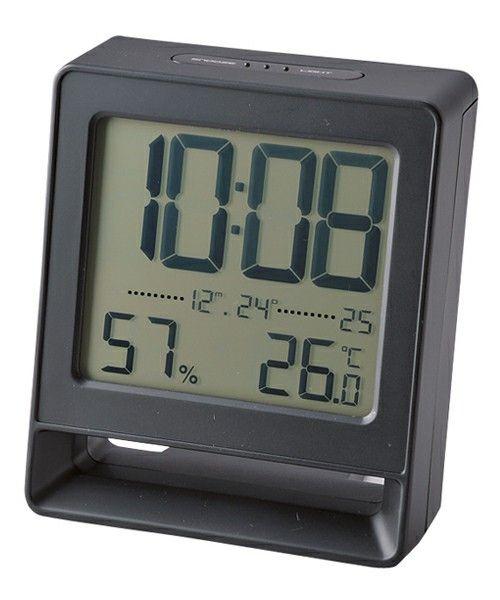 IDEA LABEL(イデアレーベル)の電波LCDアラームクロックSQ(置時計)|ブラック