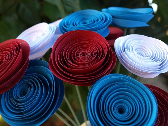 Red White and Blue Paper flowers by PulpPetals on Etsy, $24.00