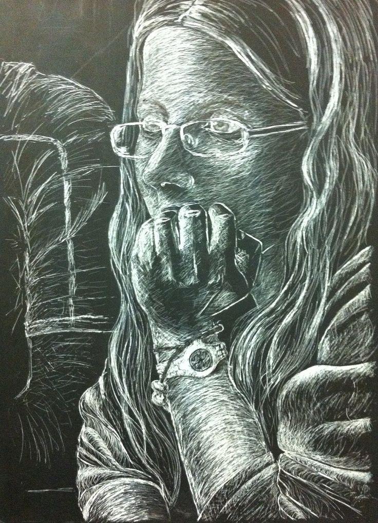 Di Wilson - Self portrait - Scraper Board