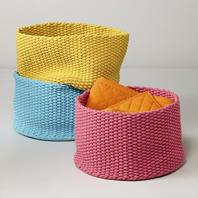 adorable knit bin storage for blankets soft toys and such 49