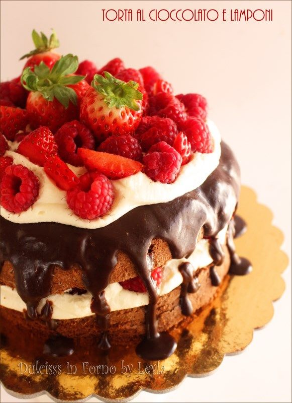 """Torta al cioccolato e lamponi: una Naked Chocolate Cake, cioè una torta al cioccolato con la farcitura e la decorazione in """"bella vista"""", una torta """"nuda""""."""
