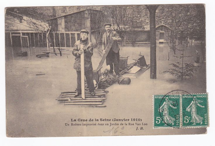 urbitrend-collectables - 1 carte postale France DEP 75 Paris Inondations La Rue Van Loo Passy dated 1910, €6.50