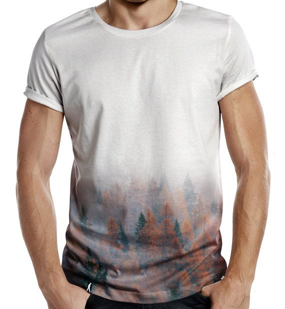Distinkt Youth Rusty Forest Half Print Mens Fashion T Shirt Summer Swag Trees Winter Hipster
