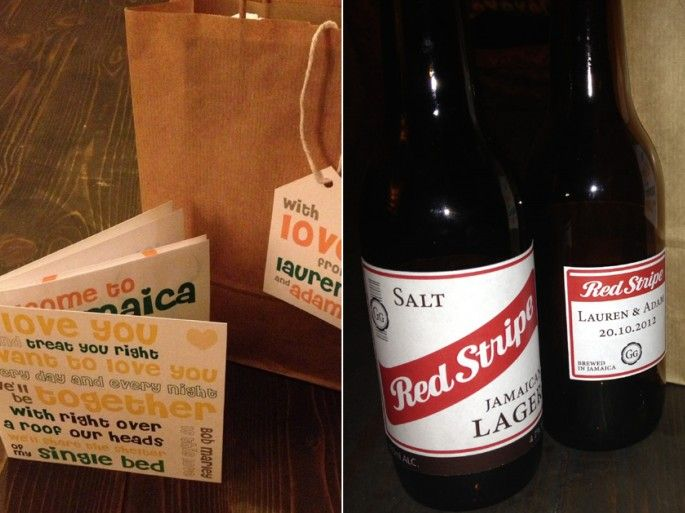Jamaican Wedding Guest Welcome Pack & Red Stripe Salt and Pepper Shaker Favours