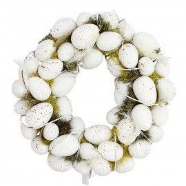 Coronita decorativa din oua si iarba uscata