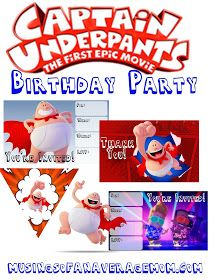Everything you need for a Captain Underpants Party including free printable banner, game, invitations, cupcake toppers and thank you cards