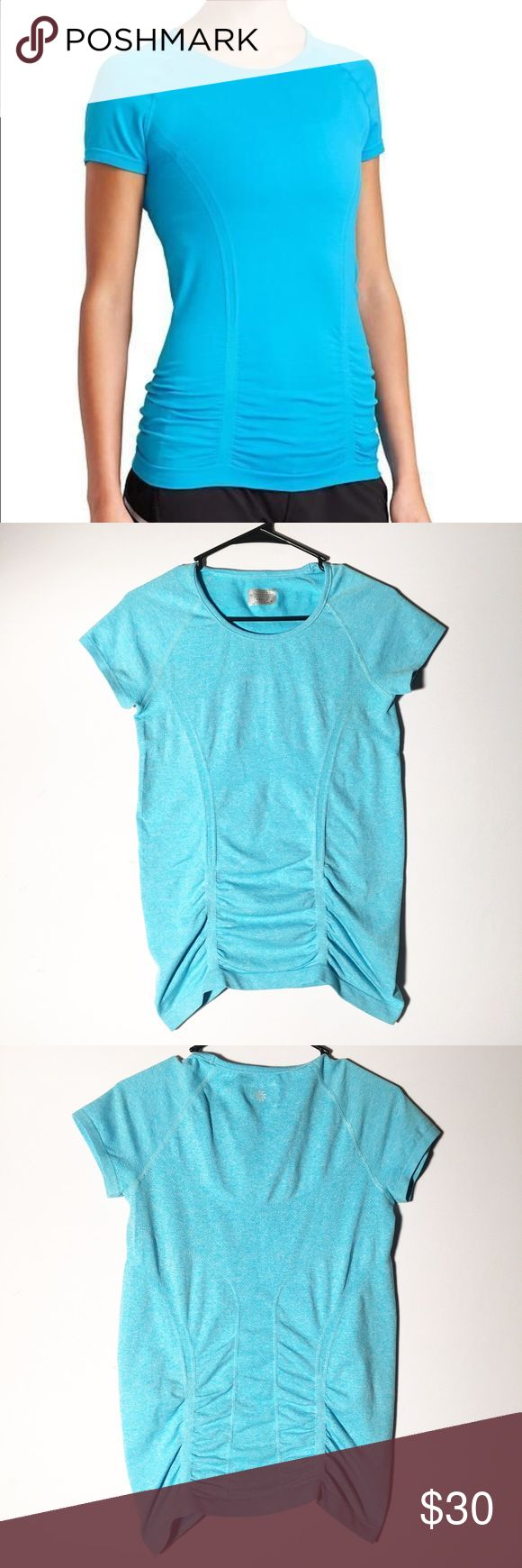 ✨Athleta fastest track aqua blue tee Size medium! Perfect for not riding up while working out or running! Make an offer! Athleta Tops Tees - Short Sleeve