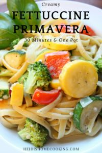 This creamy Fettuccine Primavera is an easy one pot dish you can make in less than 30 minutes. It is one of my favorite vegetarian pasta recipes because of the simple butter sauce and healthy vegetables. If you need more protein, you can easily add chicken or shrimp to make a skinny version of alfredo noodles. You're going to want to save this recipe today!
