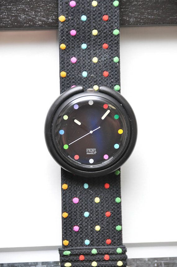 Pop Swatch Watch in Black with Polka Dots by LadyYesterday ...