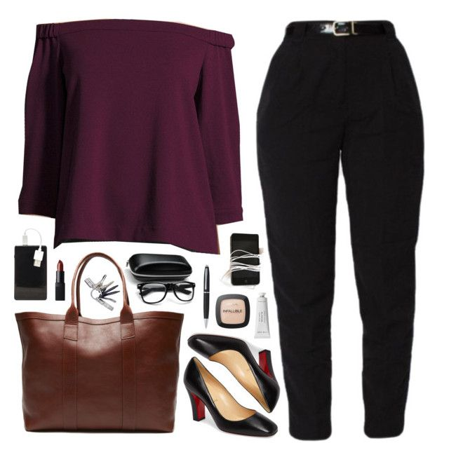 """""""2.3"""" by mieswardrobe ❤ liked on Polyvore featuring TIBI, Christian Louboutin, Chic Buds, Michael Williams, NARS Cosmetics, Byredo, L'Oréal Paris, WhatsInMyBag, inmybag and offshoulder"""