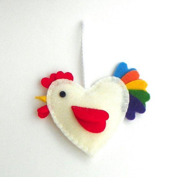 galletto rainbow chicken rooster heart decoration felt skeeter