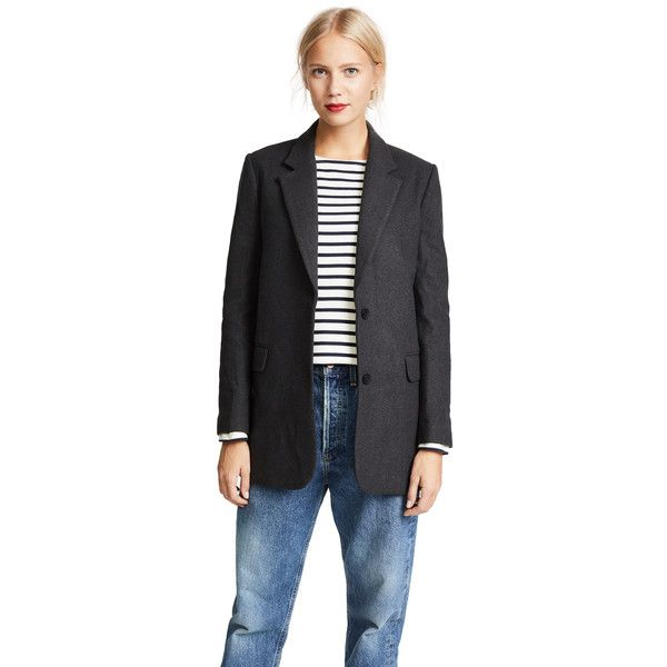 James Jeans Elongated Boyfriend Blazer ($270) ❤ liked on Polyvore featuring outerwear, jackets, blazers, rich charcoal, long boyfriend jacket, collar jacket, boyfriend blazer jacket, long blazer jacket and boyfriend jacket