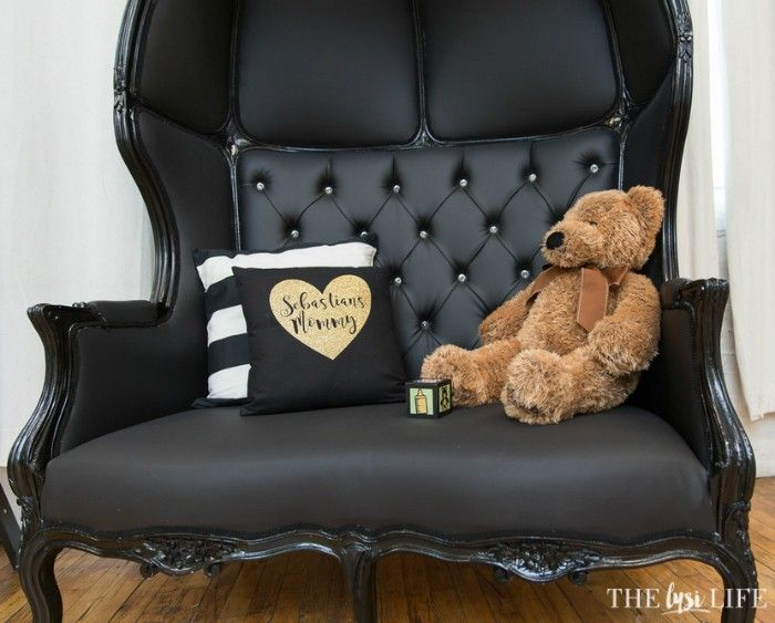 Mom-To-Be Chair of Honor and custom pillow. Baby Shower styled by www.thelysilife.com