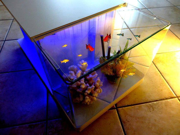 TABLE BASSE AQUARIUM DESIGN BLANCHE 30 LED SANS FIL BLEU