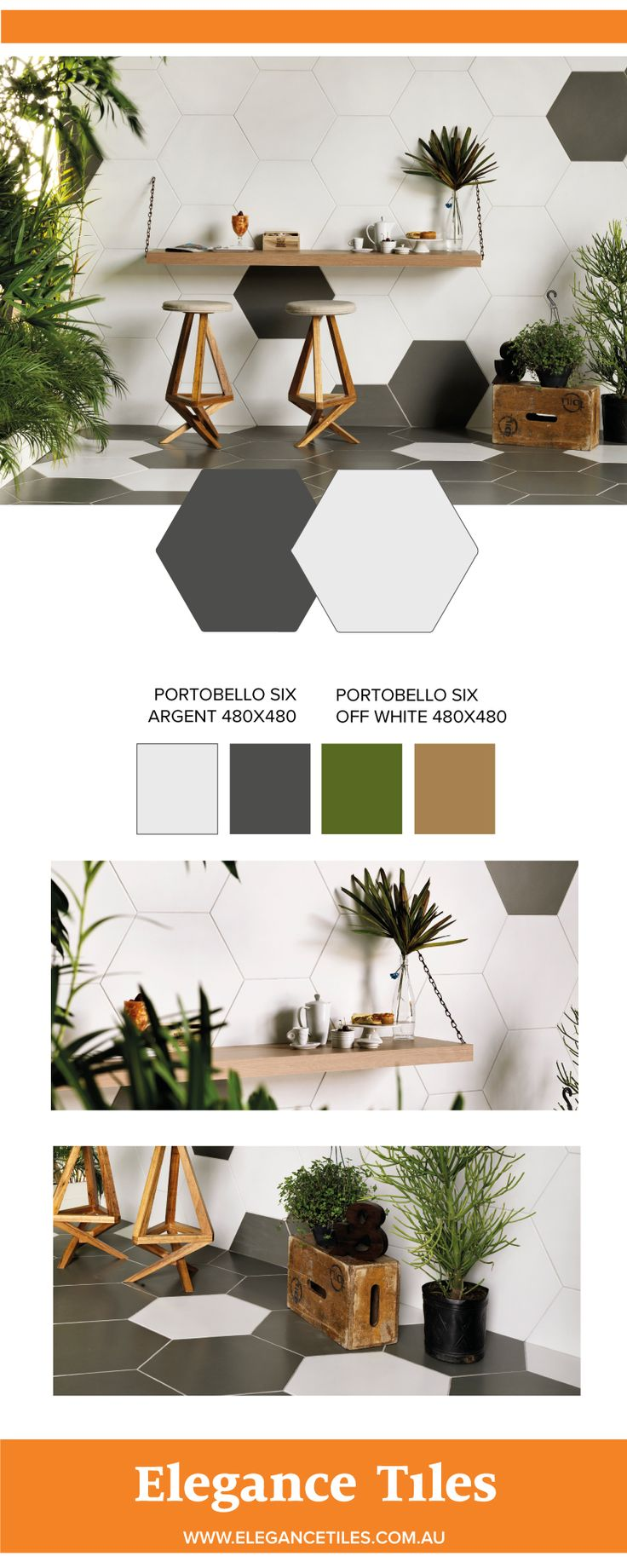Portobello SIX hex tiles - available in 7 colours online now.