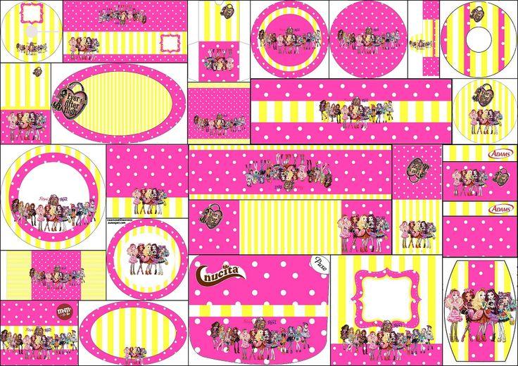 Ever After High Amarillo y Rosa: Etiquetas para Candy Bar para Imprimir Gratis.