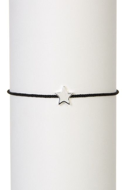 LA Rocks Sterling Silver Mini Star Charm Bolo Corded Bracelet