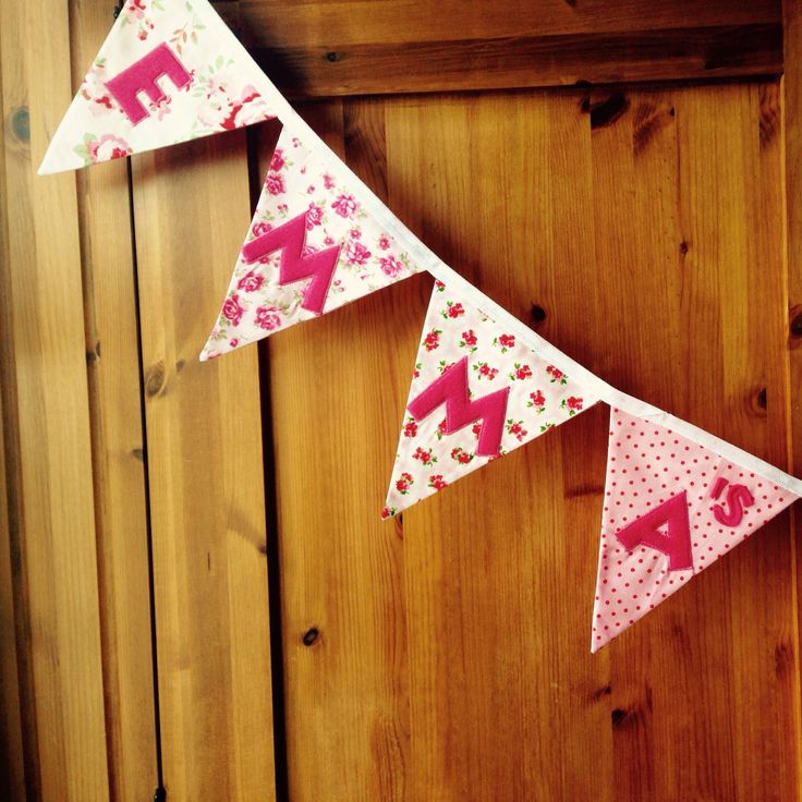 Personalised bunting, Cath Kidston style bunting, Pink bunting, Girls bunting