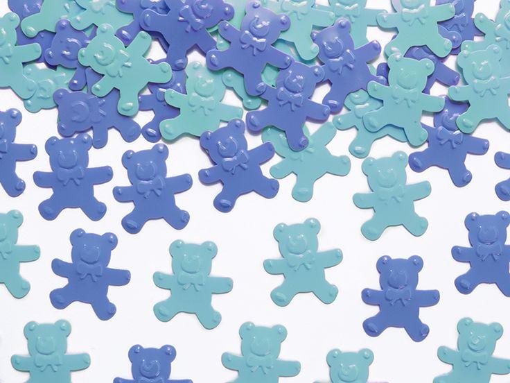 Plastikowe konfetti Misie niebiesko-błękitne. Doskonałe do dekoracji na urodziny chłopca.