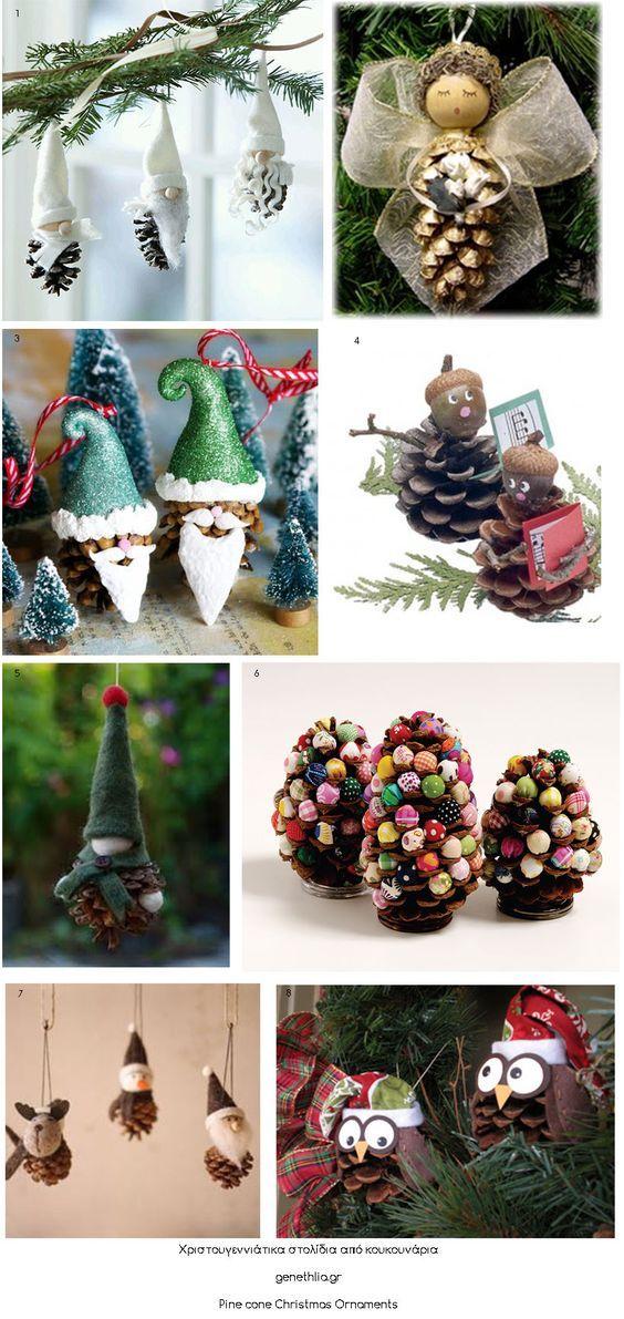 DIY Christmas pine cone ornaments!: