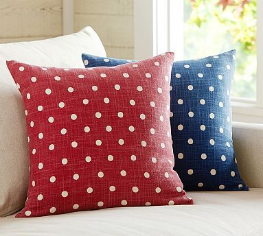Polka dot pillow cover potterybarn love the navy blue one house decor pinterest more