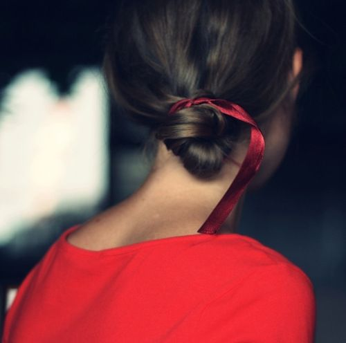 red bow in bun