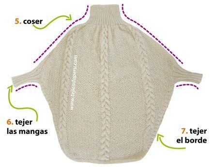 Cómo tejer un poncho con trenzas y mangas en dos agujas o palitos