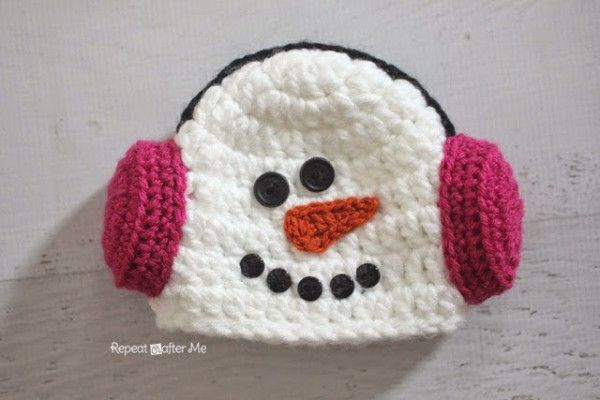 #Crochet snowman hat and baby cocoon free pattern from @repeatcrafterme