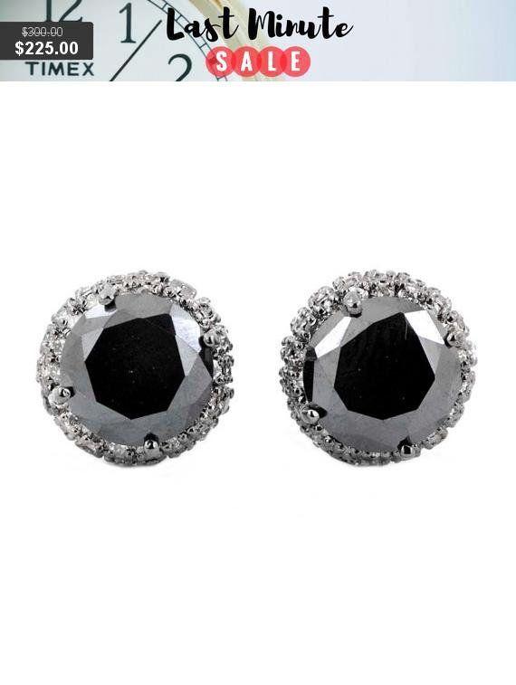 beb032536 AAA Quality Black Diamond Studs in 925 Silver, #jewelry #earrings  @EtsyMktgTool #citrine #gemtonering #sterlingsilverring #diamondstuds