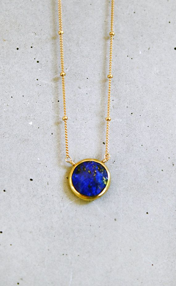 royal blue lapis lazuli coin necklace