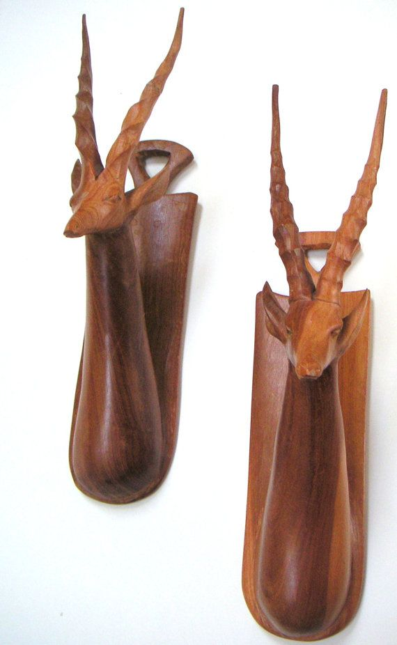 Vintage Mid Century Carved Wooden Antelope Heads.Teak ...