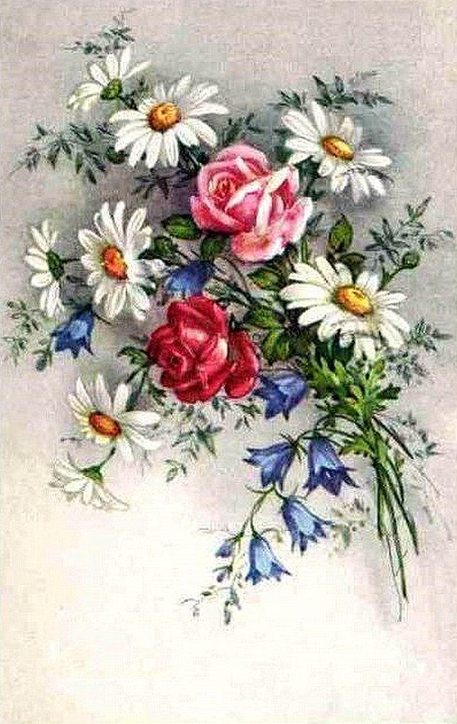 Юмор, старинные открытки с цветами картинки для вышивки