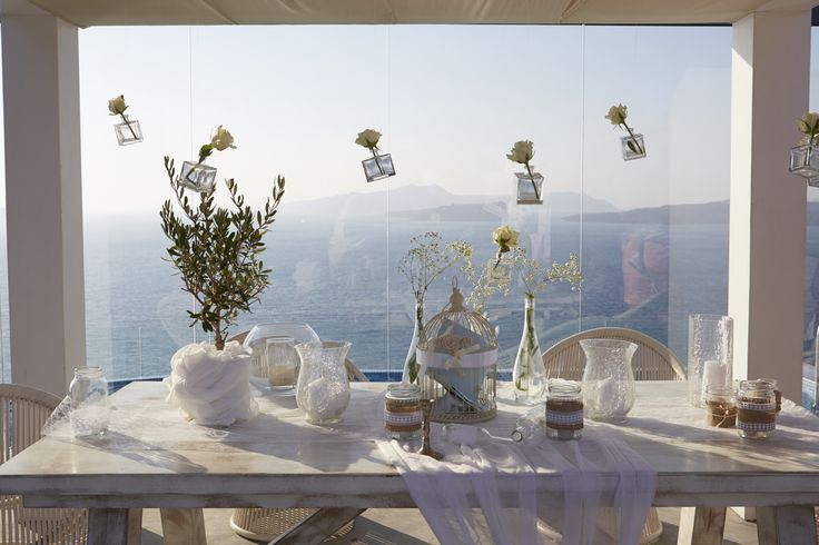 Wish table decoration in Cavo ventus Santorini by A la carte Santorini weddings. info@alacartesantoriniweddings.com